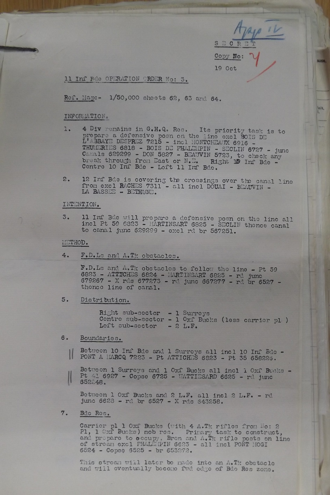 11 Inf Bde Operation Order No 3 19 Oct 1939