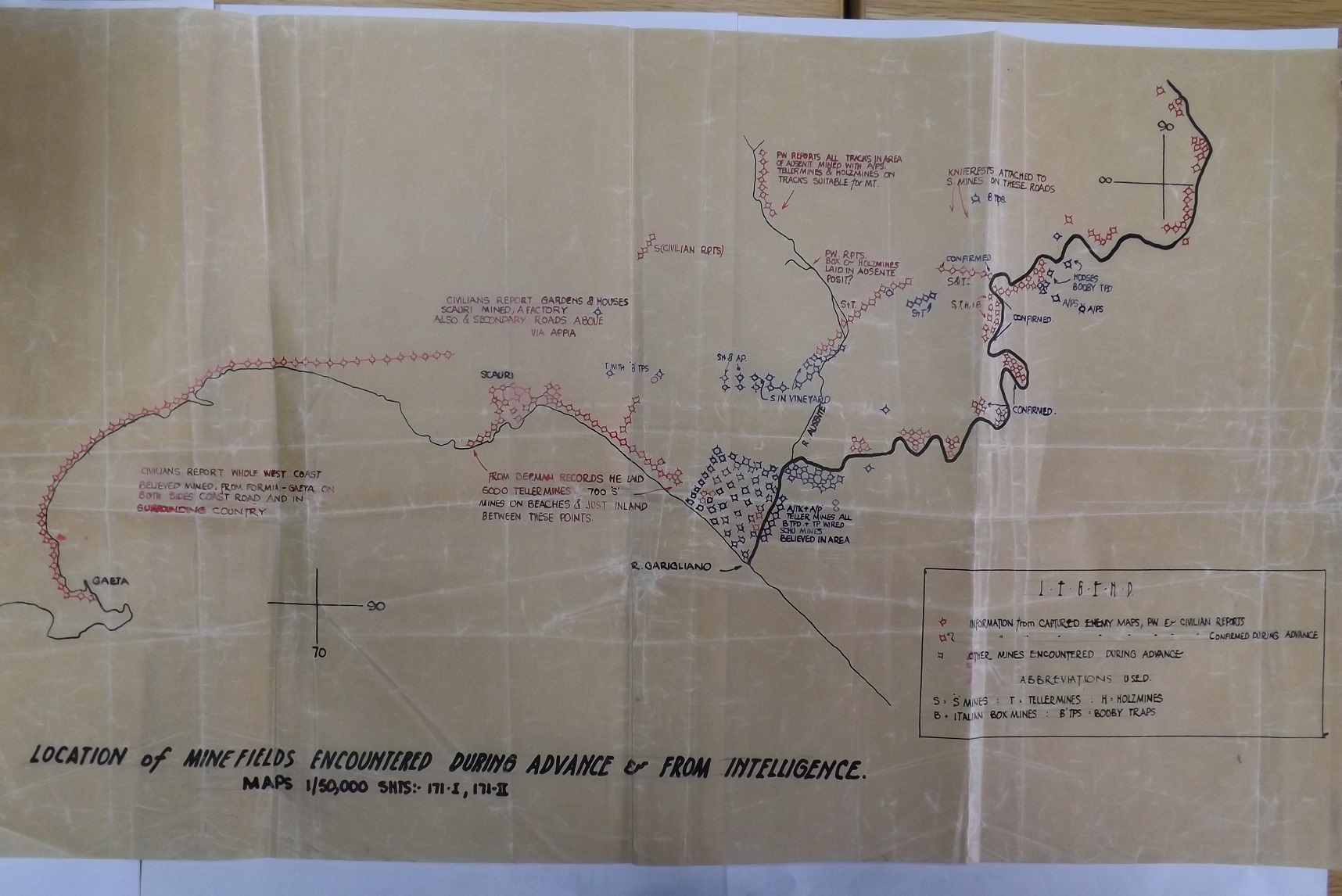 Garigliano River Minefield  Map