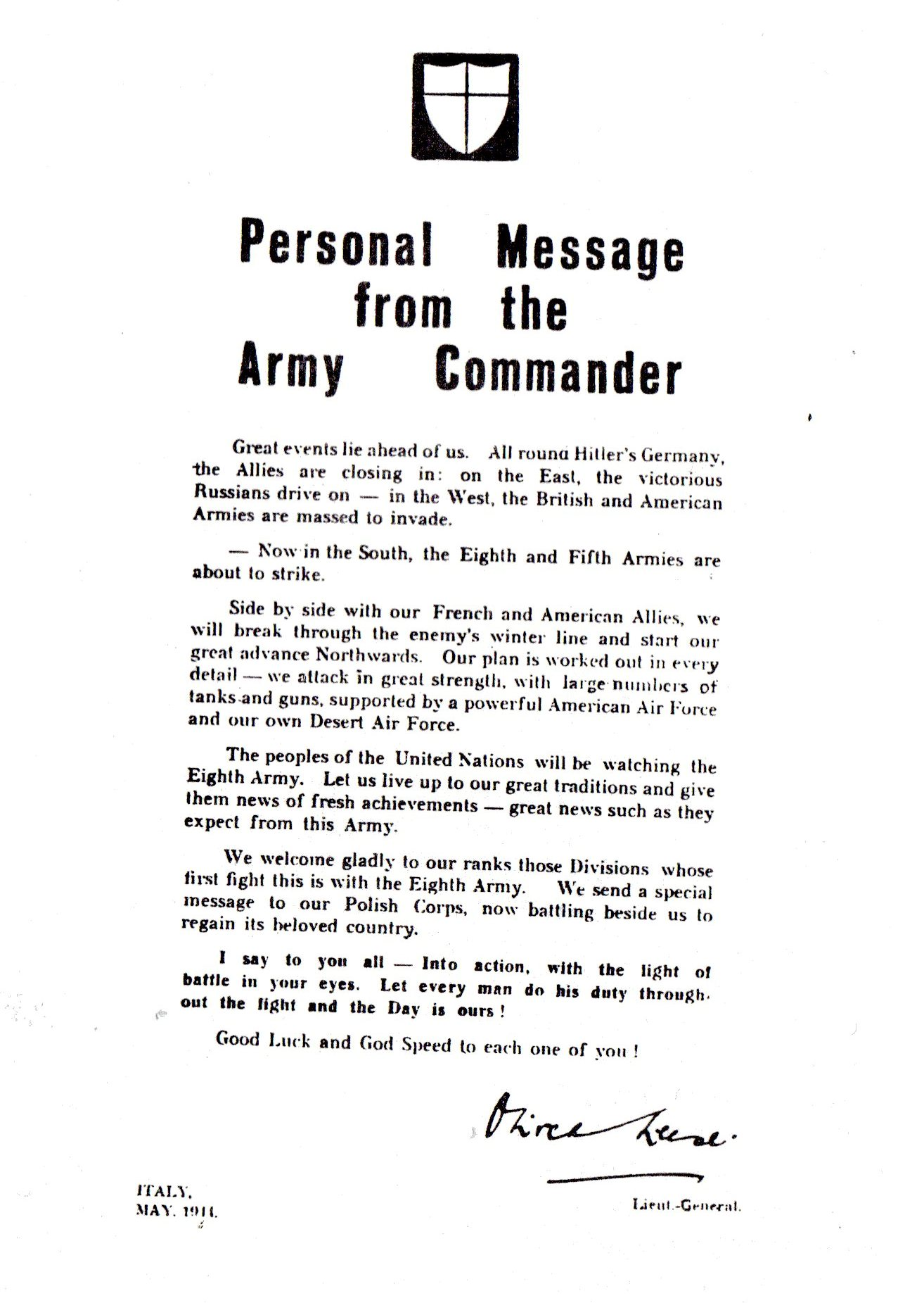 Message from the Army Commander